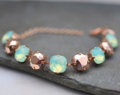 Rose Gold Mint Green Opal Bracelet, Bridal Bracelet, Wedding Jewelry, Bridesmaid Bracelet, Statement Jewelry, Swarovski Crystal, Gift Idea