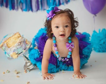 First Birthday Outfit Girl, 9-24 mo, 1st Birthday Girl, Purple Turquoise Pettiskirt, Bubblegum Necklace, Infant Kids Baby Tutu, Hairbow