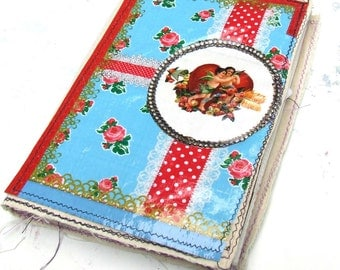 Handmade  Journal - fabric covered Scrap journal - Photo album - diary - notebook -Junk Journal- Junque book