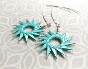 Aqua Shimmer Origami Sunburst Earrings