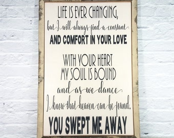 song lyric art, song lyric wall art, wood sign, wedding song lyric art, wedding song lyric, first dance lyric, wedding vow, song lyric, MKD