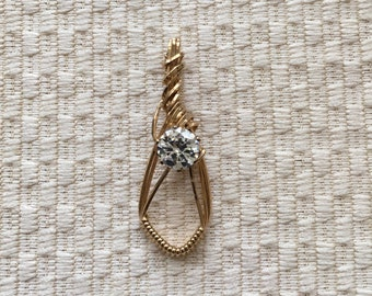 Crystal Millenium Stone Wire Wrapped in 14K