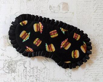 Hamburger Sleep Mask in Black // Cotton & Satin Eye Mask // Gilmore Girls Inspired