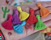 "NEW Solid Color Mini Jewelry Tassels, Cotton, Same Color Binding, Mala Bracelet Tassels, Handmade, 1.25"", Summer Fashion Trend, DIY"