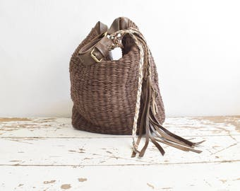 Large Woven Hobo in Brown with Boho Tassels.  Available in different colours. Made to Order