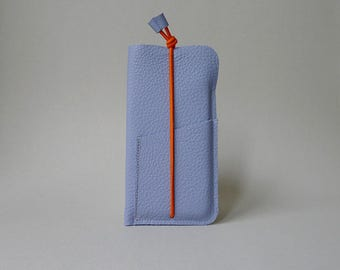 Phone cover with card slot - lavender leather & orange elastic strap - iPhone 6 / iPhone SE