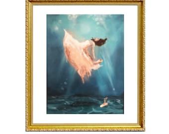 Lost Love - Print on Archival Matte Paper, By Alycia D'Avino, Ballerina Art, Mermaid Painting, Underwater Art, Wall Decor, Ballet Shoe