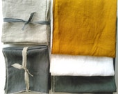 2 Tea Towels- Blanks, flax, 100 percent linen, Ochre Linen