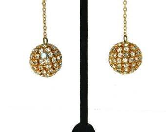 Vintage Rhinestone Ball Drop Earrings