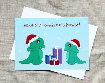 Cute Christmas Card - A Dino-mite Christmas! Christmas card, Funny Christmas Card, Christmas Pun, Cute Holiday Card