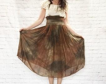 Vintage 80s Tie Dye Sheer Chiffon Pleated Wide Cummerbund Waist Midi Skirt XS S