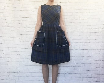 Vintage 50s Blue Sateen Cotton Plaid Dress Lace Trim Pockets Knee Length Sleeveless XL