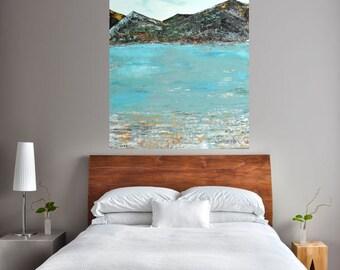 READY TO SHIP: 36x24 Textured/Impasto Abstract Landscape Seascape Ocean Mountain Ireland Wanderlust Original Art