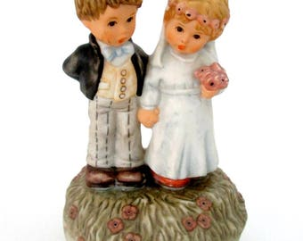 Vintage Berta Hummel Wedding March Wind Up Musical Bisque Bride and Groom // From This Day Forward