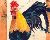 """Watercolor Print """"Rooster"""" by Sandi McGuire"""