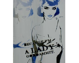 Stencil Print Vintage Fashion Illustration 12x20 BECAUSE IM A LADY Mixed Media Graffiti and Pop Art Inspired Original Painting on Canvas