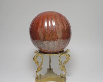Vintage Cinnamon Red Glazed Ceramic Sphere and Brass Stand, Cinnamon Red Ceramic Sphere, Solid Brass Sphere Stand, Ribbed Ceramic Sphere