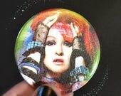 """Cyndi Lauper Glitter Button - Large 2.25"""" Pin Back Button"""