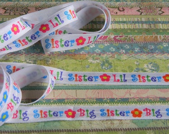 "Big Sister or Lil Sister FOE 5 yards of 5/8"" Fold Over Elastic You Choose Headband Connectors Clothing Pink Purple Green & Blue w/ Flowers"
