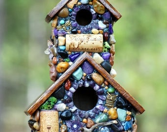 Outdoor birdhouse, mosaic art, garden decor, purple mosaic, gift for her, fairy garden, wine corks, wine decor, mothers day gifts