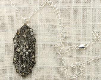 Sterling Silver Delicate Chain with Art Deco Pendant Simple Rhinestone Pendant | 925 Sterling 1920s Jewelry 16E
