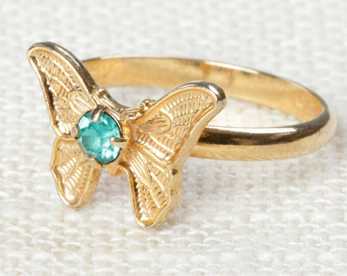 Vintage Butterfly Ring Aqua Blue Rhinestone Small Adjustable XS or Child's Size Vintage Ring Gold Butterfly Adjustable 16R
