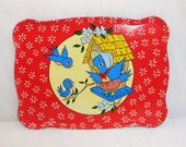 Mommy and Baby Bluebirds, Toy Tin Tray, 1960's, Tin Litho