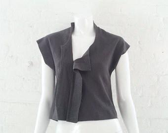 Comme des Garcons Gray Wool Sweater 90s Vintage Deconstructed Grey Small Medium Asymmetric Sweater Avant Garde Japanese Rei Kawakubo Sweater