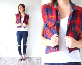 Vintage BOYFRIEND Plaid  cut off top vest // red and blue checkered shirt // Mens plaid shirt // Long sleeve Mens flannel // oversized vest
