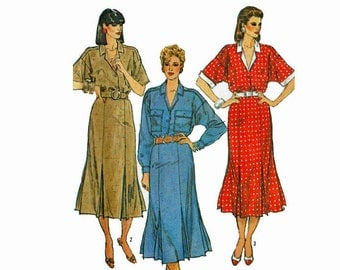 Dress with gored Skirt 1980s Uncut Sewing Pattern Size 10 Bust 32 1/2 Simplicity 6941
