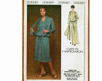 70s Pullover dress maxi or shorter length & scarf Knits Designer Cathy Hardwick 1970s UNCUT sewing pattern Size 12 Bust 34 Simplicity 8906