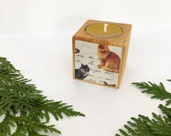 Kitty Cat Votive, Christmas Gift, Reclaimed Wood Votive, Tea Light