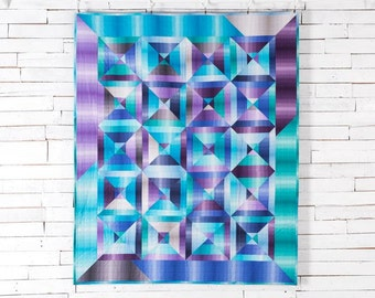 Modern Quilt, Ombre, Lap Quilt, Stripes, Throw, Coverlet, Made to Order, Busy Hands Quilts