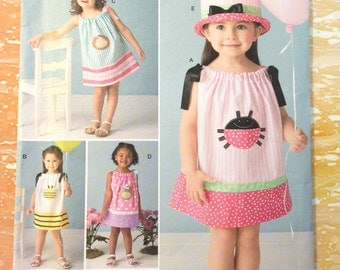 Simplicity 2383 Toddler's Dress with Appliques and Hat- Pillowcase Fashions Sizes 1/2 to 4