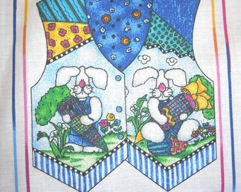 Jelly Bean Junction Child's Hoppy Easter Vest plus dolls - Sewing Fabric Panel