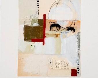 Original paper collage, mixed media collage, ephemera collage