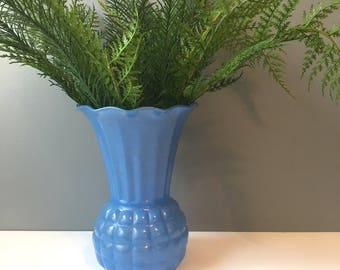 Anchor Hocking pineapple vase with blue fired on finish - 1950s vintage