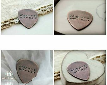 Latitude Longitude, Custom Guitar Pick, Custom Coordinates, Personalized Gifts, Copper Guitar Pick, Anniversary Gift, Gift for Husband,
