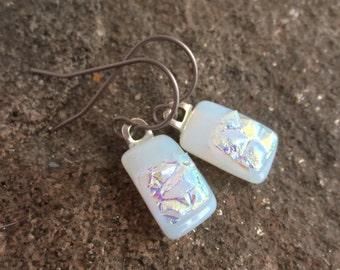 Titanium Sensitive Ears Dichroic Opal Dangle Earrings Light Grey Fused Art Glass