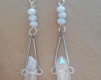 Clear crystal quartz earrings, Gemstone earrings, Raw gemstone earrings, Quartz dangle