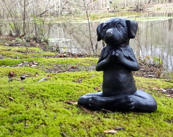 Dog Buddha Statue, Black Dog Memorial, Meditating Dog, Zen Home Decor, Yoga