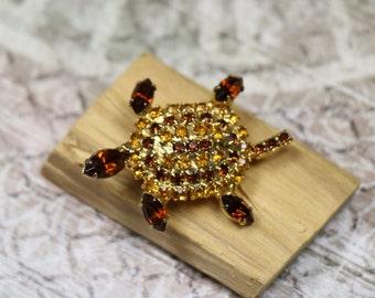 Vintage Amber Rhinestone Turtle Pin