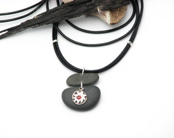 Beach Stone  Necklace Statement Necklace Rustic Earthy Jewelry Sterling Silver  Leather Cord Eco Friendly Lake Superior Stone Gifts for HER