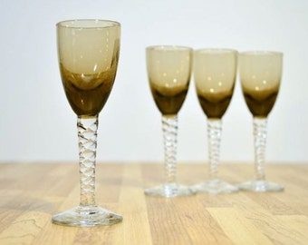Mid Century Cordial Glasses Smoked Glass 1 oz. Liqueur Elegant Twirled Stemware Shot Glasses:  Set of Four