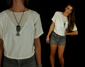 vtg 80s ivory FISHNET avant garde Triangle CROP TOP os sheer top shirt indie unique geometric hipster cropped boxy sporty mesh