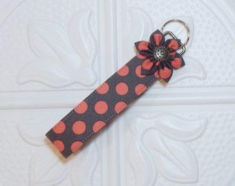 Key Fob - Wristlet Key Fob - Keychain - Gray With Coral Polka Dots