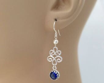 Blue Sapphire Earrings with Pearls, Argentium Silver, Lab-grown Sapphire, Something Blue Bridal Earrings