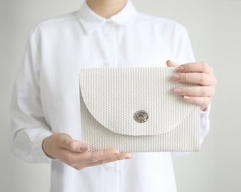 Buckle Clutch Pale Tan Braided Suede, bridal clutch, bridal bag, beige leather clutch, evening bag, leather purse, crossbody bag