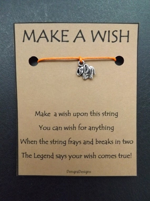 Little Elephant Silvertone Wish String Lucky Wishes Friendship Karma Amulet Token Desire Bracelet Band Cord Color Choice