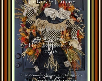 "PRE-ORDER for ""2017""Delivery-""Scarecrow "" Fall Wreath-Thanksgiving-Halloween-Petals & Plumes Original Design©"